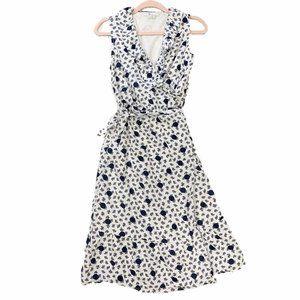 Boden Nancy Linen Ruffle Midi Wrap Dress Polka Dot